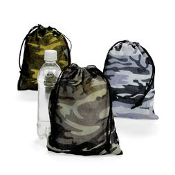 12 Camouflage Drawstring Loot Bags Totes Boys Army Military
