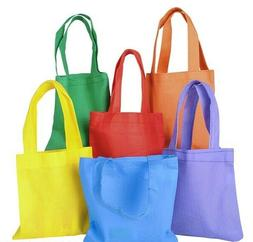 12 Fabric Color Mini Tote Bags Fill w/ Favors Gifts Toys Can
