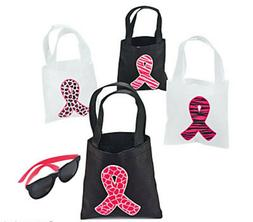 12 mini Pink Ribbon Breast Cancer Awareness Canvas Tote Bags