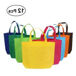 12pcs Fabric Tote Bags Shopping Party Favors Grocery Gift Ba