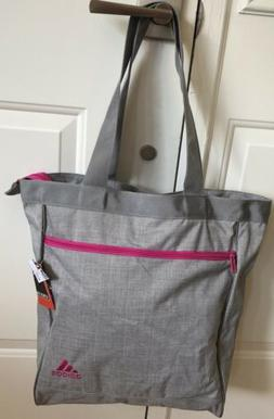 "Adidas 17"" Tote Bag Gray Hot Pink Trim Large Zipper Closur"