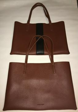 2 Vince Camuto Brown Vegan Leather Tote Laptop Bag Shopper P