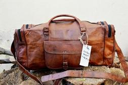 """25""""New Large Vintage Men Real Leather Tote Luggage Bag Trave"""