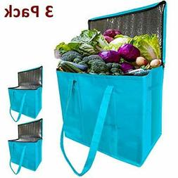 3 Pack XL Insulated Reusable Grocery Shopping Bags Extra Lar