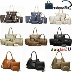 6Pcs/3PCS Sets Women PU Leather Handbags Brand Tote Satchel