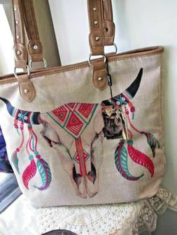 Montana West AZTEC LUGGAGE BAG Canvas Tote STEER WESTERN PUR