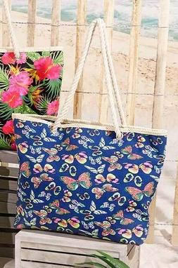 Butterfly Canvas Tote Bag Oversized Zippered Fully Lined Rop