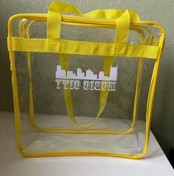 """Clear 12x12x6 Stadium Approved Tote Bag w/ 35"""" Handles Yello"""