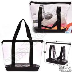 Large Clear Bag Tote Strong Zippered Closure Beach Shoulder