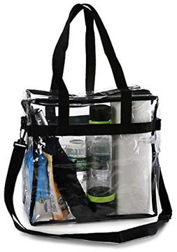 Clear Tote Shoulder Straps and Zippered Top Perfect Clear Ba