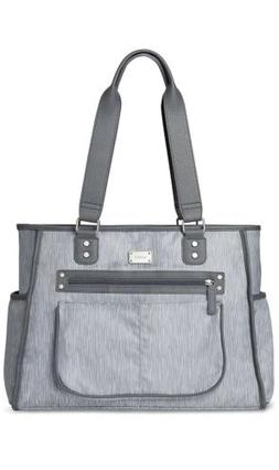 Essence Grey Rainfall Diaper Bag Tote With Changing Pad, Lar