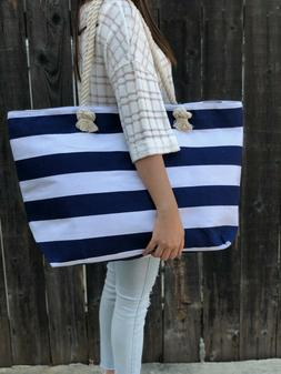 Extra Large Canvas Tote Bag-Beach Bag-Travel Picnic Gym Navi