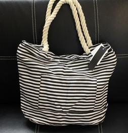 Fashion Striped Tote Beach Bag With Rope Handles