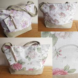 FLORAL BEACH BAG TOTE WITH PURSE VINTAGE Italian Styled Hess