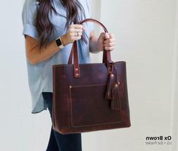 Genuine Leather Tote Bag for Women ladies bag tote with zipp