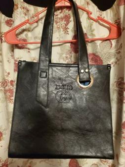 Gucci GG Monogram Black Leather Tote Black with blue inside