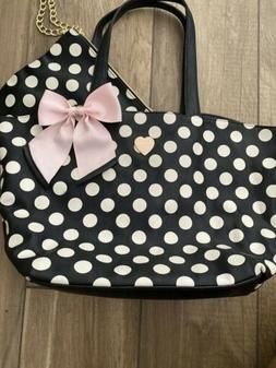 Betsey johnson handbags large Beige Polka Dot tote With Clut