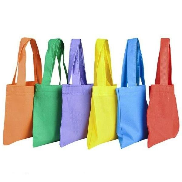 12 Fabric Color Mini Tote Fill Favors Toys Birthday Party