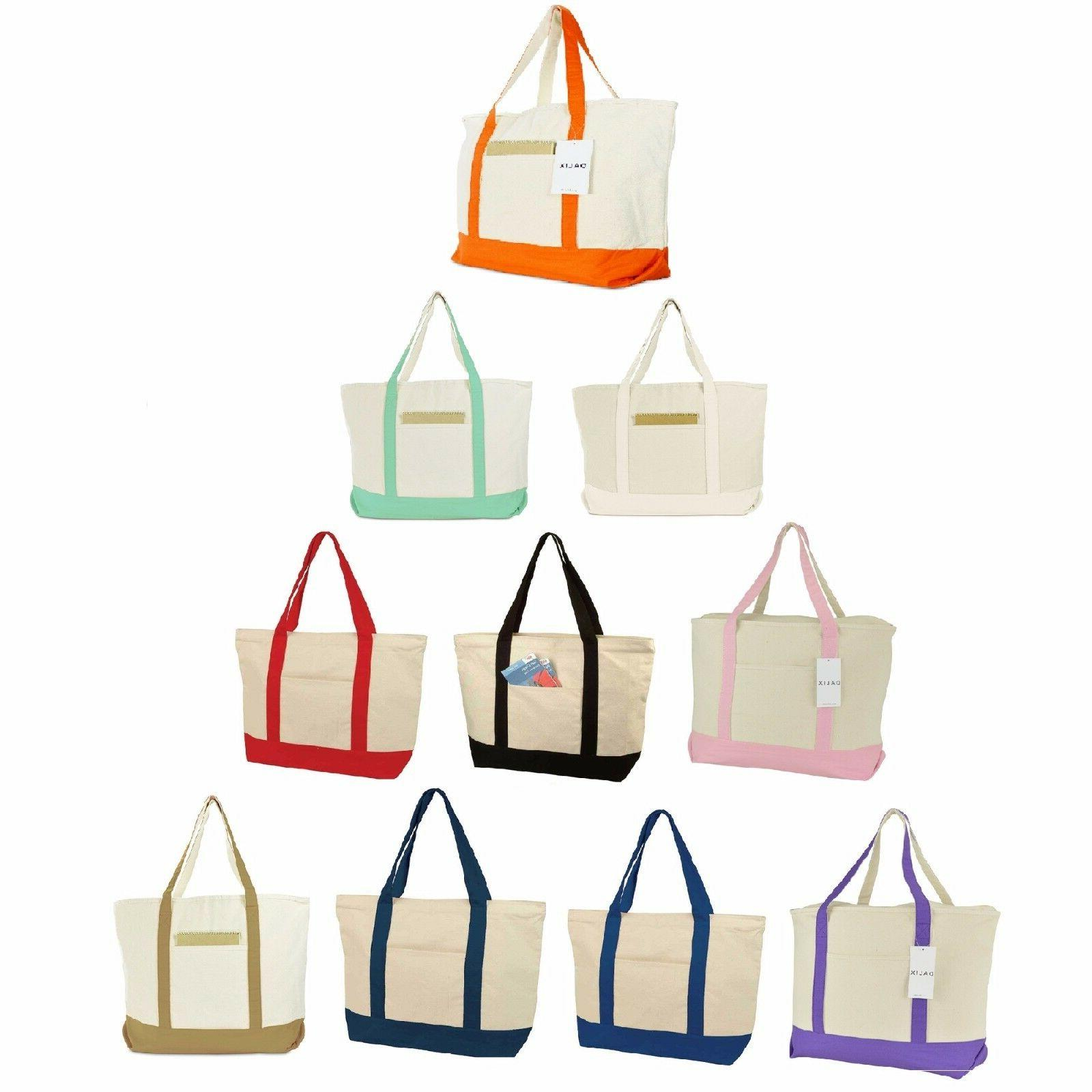 22 large cotton canvas zippered shopping tote