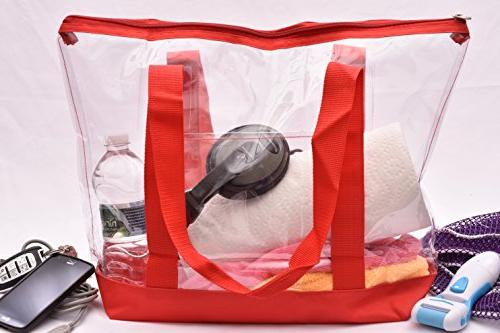 Clear Tote Bag Top Zipper Closure, Shoulder and Attractive Fabric Perfect Places Events Clear Required.
