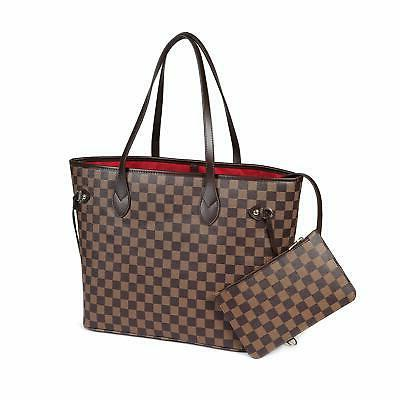 checkered tote shoulder bag with inner pouch