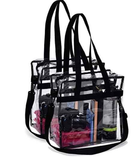clear tote bag pack of 2 transparent
