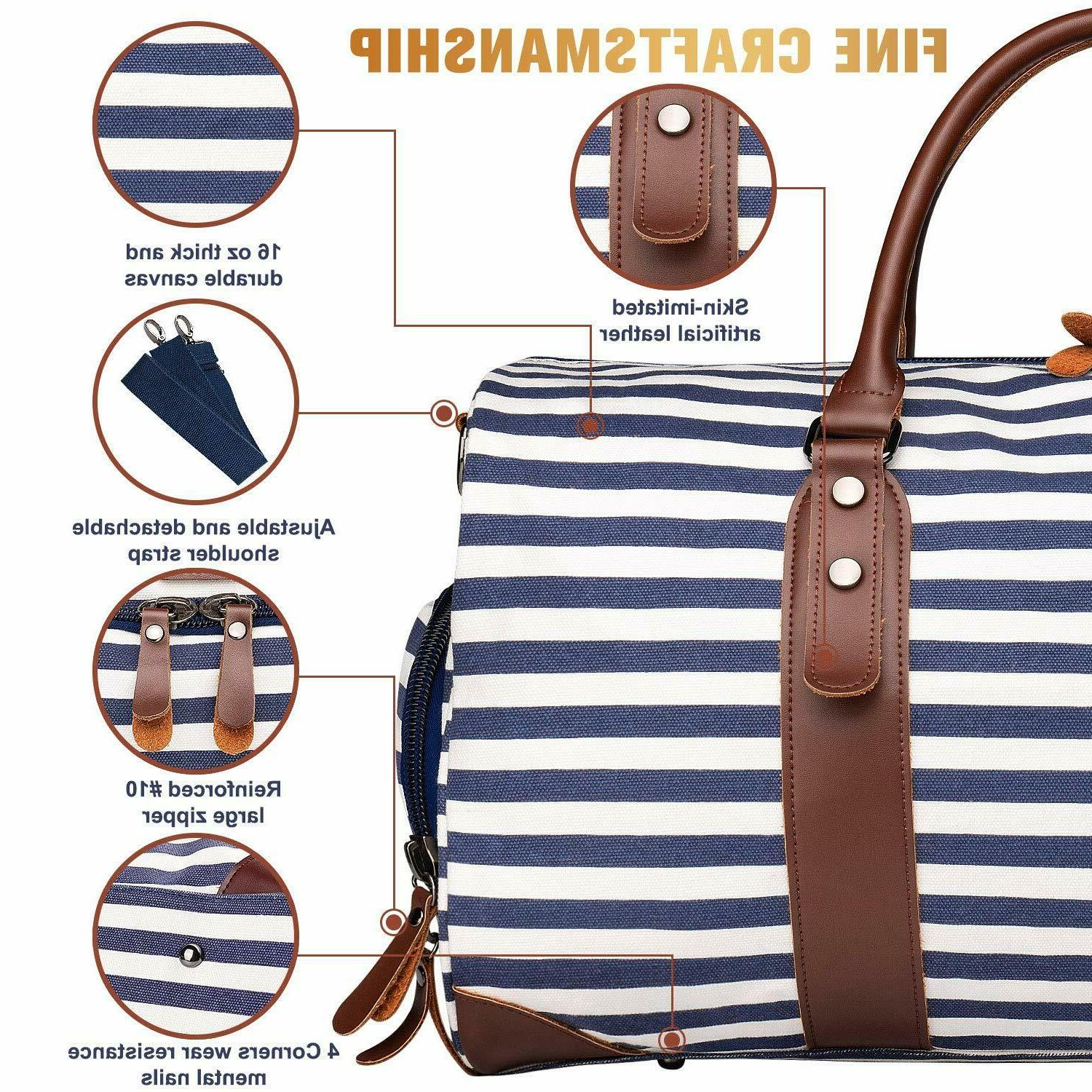 Leather Striped Bag Weekender Style Blue Tote