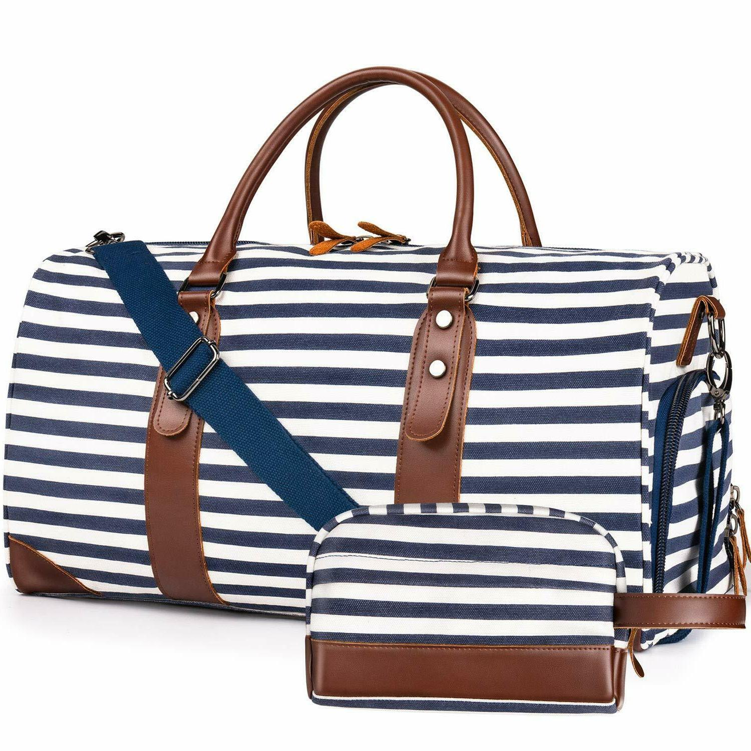 leather striped bag weekender style duffle travel