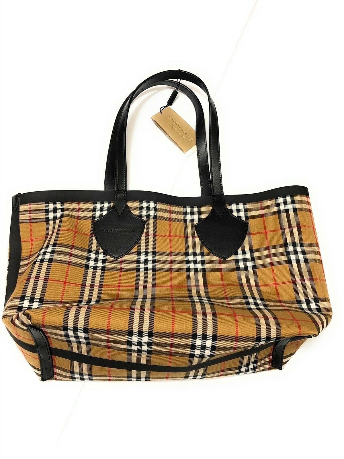 New Burberry Medium Giant Reversible Tote Bag Authentic Yell