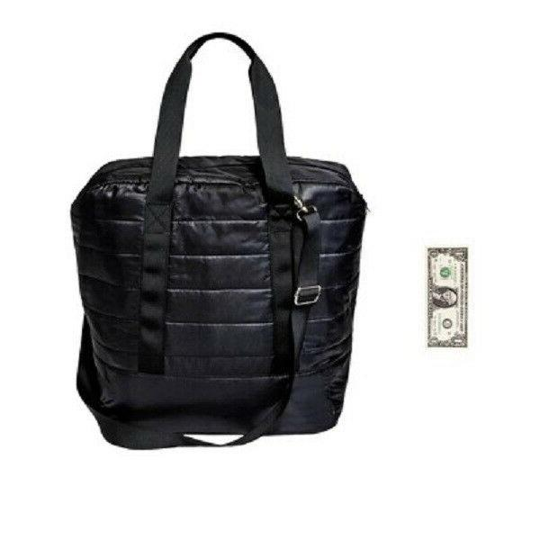Quilted Nylon Black Tote Purse Wild