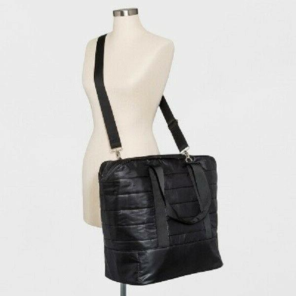 quilted nylon weekender bag black tote overnight
