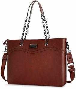 Mosiso Laptop Tote Bag For Women , Premium Pu Leather Busine