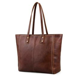 Large Shoulder Bag Kattee Vintage Cowhide Leather Tote for W