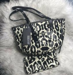 Kenneth Cole Reaction Leopard Coated Canvas Small Tote Purse