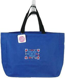 Made With Love For Our Teacher Monogram Bag Blue Tote School