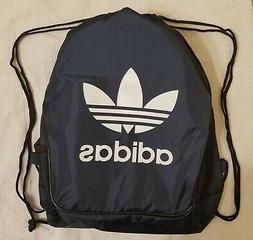 Navy Drawstring Backpack Adidas Sport Gym School Sack Tote T