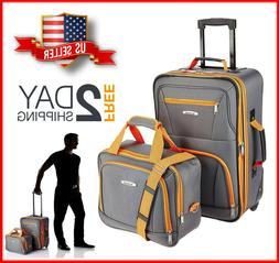 NEW 2 Pcs Traveler Carry-on Rolling Luggage Suitcase Tote Ba