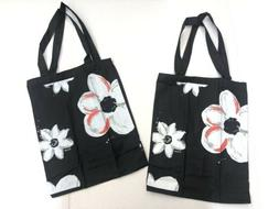 New! 2x Midnight Flowers Small Tote Bags Canvas Black Color