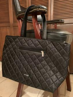 New Kenneth Cole Reaction Black Nylon Quilted Tote Shoulder