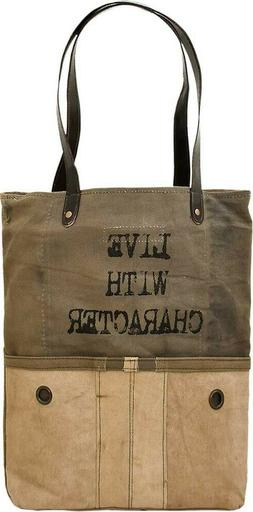 New Vintage Addiction Upcycled Canvas Tote Bag Repurposed Re