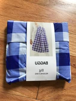 NWT BAGGU BIG Reusable Shopping Bag, Blue Check Foldable Rip
