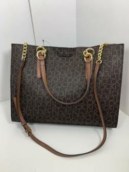 NWT Calvin Klein Monogram  Faux Leather Tote Bag With Cosmet