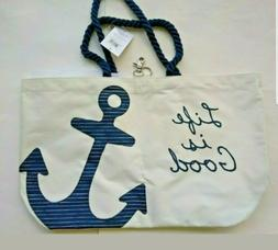 NWT Life Is Good Sunny Day Beach Bag Tote Anchor Nautical Ro