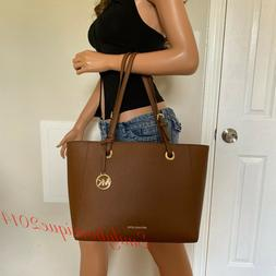 NWT MICHAEL KORS WALSH LUGGAGE BROWN LEATHER TOTE SHOULDER B