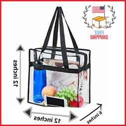 Everyday Clear Tote Shoulder Bag Zipper With Crossbody Adjus