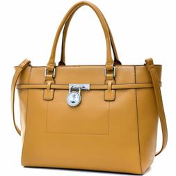 Dasein Padlock Women Leather Tote Shoulder Bag Handbag Satch