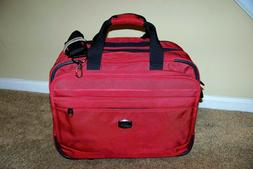 """DELSEY Paris HELIUM FUSION 17""""  Rolling CARRY-ON Trolley RED"""