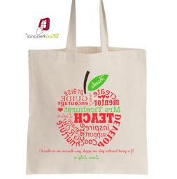 Personalised Thank You Teacher Gift Cotton Tote Bag- Apple f