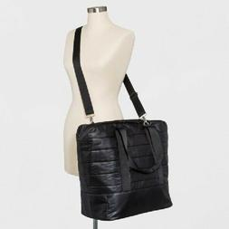 Quilted Nylon Weekender Bag Black Tote Overnight Purse Wild
