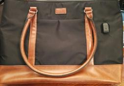 Relavel Laptop Tote Bag With USB Interface Black/Brown